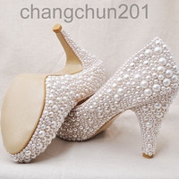 Party queen pearls high heels cream pearl Wedding Shoes heel-height about 4 inches free shipping