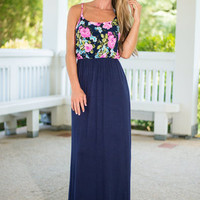 Winning Ways Maxi Dress, Navy