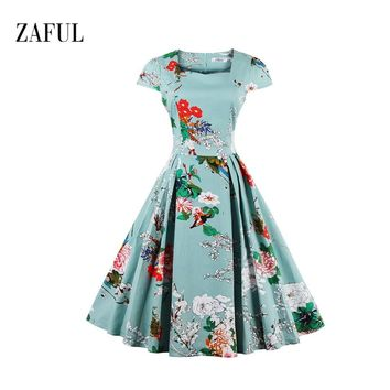 Zaful New Summer Dress Plus Size Women Clothing S - 4XL Casual Beach Floral Rockabilly Vintage Dress Elegant Party Gown Vestidos