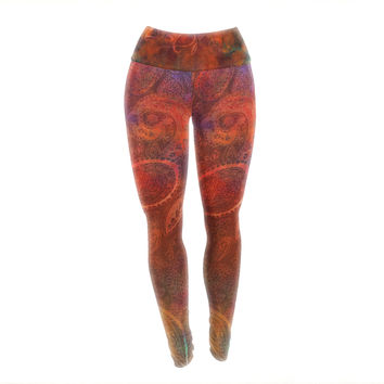 "Nikki Strange ""Tie Dye Paisley"" Orange Red Yoga Leggings"