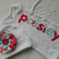 Baby Girl Beanie and Onesuit, Personalized Onesuit and Cap, Appliqued Onesuit