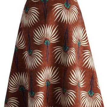 Dandelions Corduroy A-line Skirt in Tan