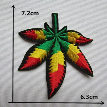 Colourful coconut tree leaf patch Hot melt adhesive clothing patch applique embroidery blossom DIY accessories 1pcs