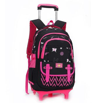 School Backpack Stylish Princess Style Girls Children School Bag With 2/3 Wheels Trolley Backpack Gift For Girls Removable wheeled Bag mochila AT_48_3
