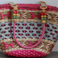Woven beach bag/Ladies Hand-woven Shopping Beach Basket Fully Lined Straw Bag / Satchel Bag Tote