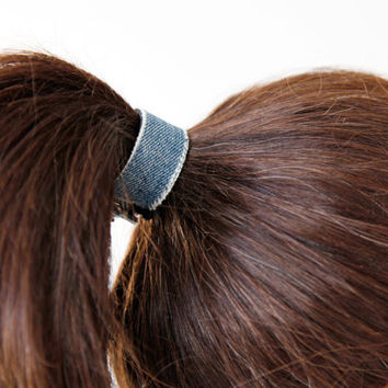 NEW-Reversible blue denim ponytail cuff double sided in black leather hair cuff- leather hair accessories- leather hair tie wrap hair cuff