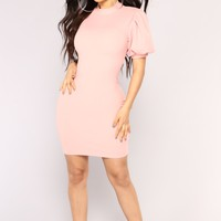 Flowers And Love Letters Mini Dress - Blush