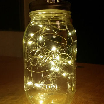 Large Firefly Lights with Mason Jar 32oz, Wedding Lights, Outdoor Lightning, Jar Lamp, Fairy Lights, Mason Jar Light, Canning Jar Light