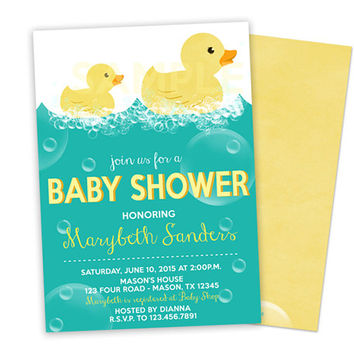 Rubber Duck Baby Shower Invitation - Rubber Ducky Baby Shower - Duckie Bubbles Boy Baby Shower Neutral Invites Personalized Invitations