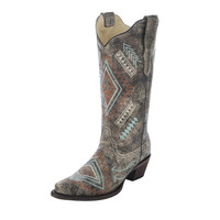 Corral Womens Black Bone Diamond Western Cowgirl Boots