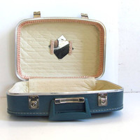 20% OFF SALE... Vintage blue Hard Shell Suitcase //  Small with mirror