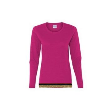 Women's Hot Pink Long Sleeve T-shirt With Fringes