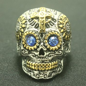 Stainless Steel Blue Eyed Cross Skull Ring
