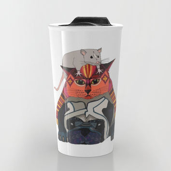 mouse cat pug white Travel Mug by Sharon Turner