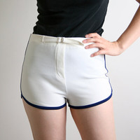 Vintage Tomboy Shorts Pure White Sporty Sports Small by zwzzy