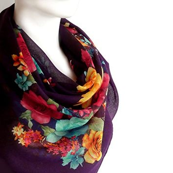 BUY ANY 3 GET 1 OF THEM FREE, unique scarf, cotton scarf, light soft scarf, Christmas gift, deep purple, square scarf, gift for wife, girlfriend gift, large scarf,