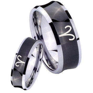 His Her Black Concave Aries Zodiac Two Tone Tungsten Wedding Rings Set