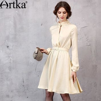 Artka Women's 2017 Spring New 2 Colors A-Line Dress Vintage Stand Collar Lantern Sleeve Knee-Length Dress With Sashes LA11051Q