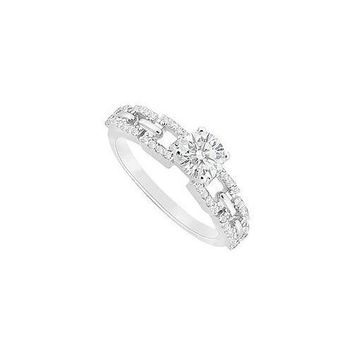 Semi Mount Engagement Ring in 14K White Gold with 0.25 CT Diamonds Center Diamond Not Included