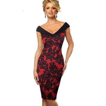 Contracting Lace Overlay Dress