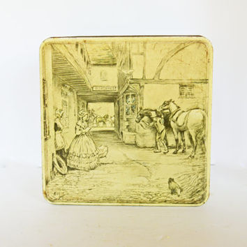 1930's English Biscuit Tin, Vintage Huntly and Palmers Decorative Tin Box, Made in England, English Motif, Storage Box