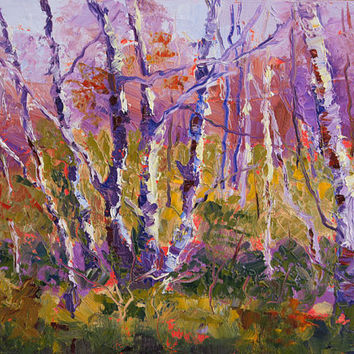 Morning Light Silver Birches oil painting, Impressionist Landscape painting,palette knife painting 7x10inch