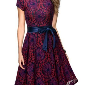 Floral Lace Vintage Style Swing Womens Evening Cocktail Fashion Runway Dress