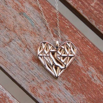 Silver California Heart Necklace