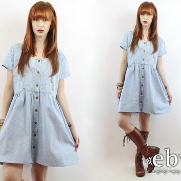 Vintage 90s Floral Denim Babydoll Dress XL 1X 90s Grunge Dress Floral Denim Dress Soft Grunge Dress Plus Size Dress Plus Size Vintage