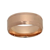 10k Rose Gold Striped Wedding Band - Men (Pink)