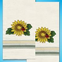 "Sunflower Tobin Stamped For Embroidery Kitchen Towels 20""X28"" 2/Pkg"