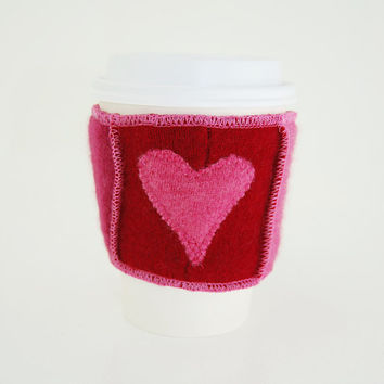 Coffee Cup Cozy in Upcycled Cashmere - Java Jacket - PInk Raspberry Red