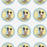 "Baby Mickey Mouse 1st Birthday 2""- 2.5"" Circle Cupcake Toppers"