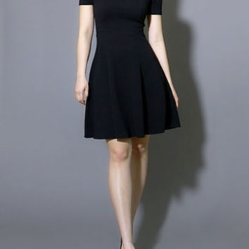 Black as Night Cold Shoulder Dress