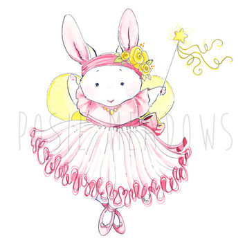 20% SALE! Coupon Code: GRANDOPEN Ballerina Bunny -  Watercolor Giclee Print, Original Artwork, Children's illustration, Nursery Print