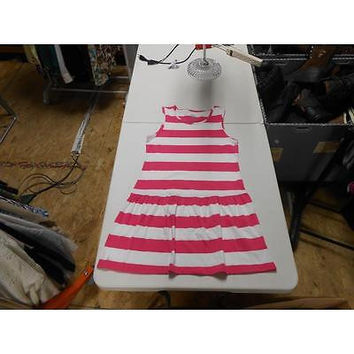 Faded Glory Girl's Drop Waist Dress, Pink/White Stripe, Xxl