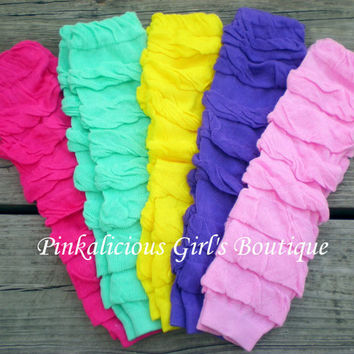Girls Baby Solid Color Pink Hot Pink Aqua Yellow Purple Full Ruffle Leg Warmer
