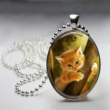 Kitty in a tree Oval Glass pendant Necklace. Handmade 18x25mm Oval Jewelry