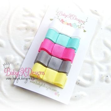 Solid Ribon Tuxedo Bow Hair Clip - White, Aqua, Hot Pink, Grey and Yellow
