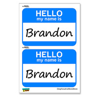 Brandon Hello My Name Is - Sheet of 2 Stickers