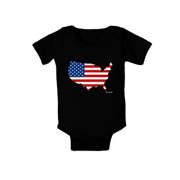 United States Cutout - American Flag Design Baby Bodysuit Dark by TooLoud