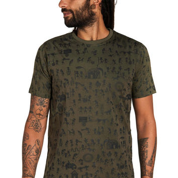 Indian art T shirt-Graphic mens shirt- Warli art- Geometric print- All over print Tee- Festival clothing- African men shirt- Forest shirt
