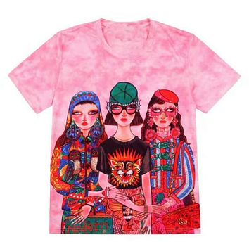 GUCCI Popular Women Men Loose Personality Three Girls Cartoon Characters Print Short Sleeve Round Collar T-Shirt Pullover Top Pink I12124-11