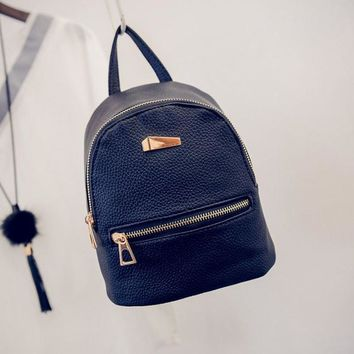 Fashion Women's Backpack New Zipper Solid Double shoulder Bags Travel Small School Rucksack
