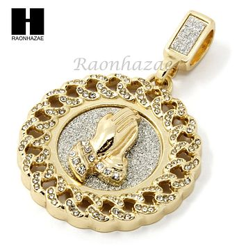 "MENS HIP HOP ICED OUT GOLD PRAYING HANDS ROUND PENDANT 24"" CUBAN NECKLACE N21"