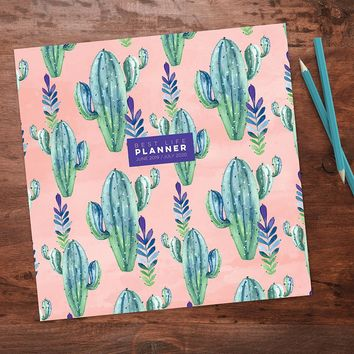 Prickly Pink Large Academic Monthly Planner