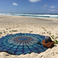 Shopnelo Home Special Round Roundie Beach Throw Tapestry Hippy Boho Gypsy Cotton Tablecloth Beach Towel , Round Yoga Mat