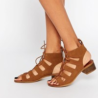 New Look | New Look Lace Up Flat Sandal at ASOS