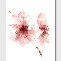 Cherry blossom wall decor unique floral clipart pink flower abstract art print of watercolor painting pink summer clip art wall decal 11x14