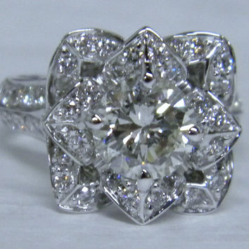 2.20ct F-SI2 Lotus Round Diamond Engagement Ring Lotus  GIA certified